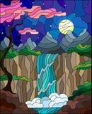 Illustrazione del vetro macchiato, l'albero sui precedenti di una cascata, montagne, sole e cielo con i fiori di ciliegia nel for Immagini Stock Libere da Diritti