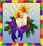 Illustrazione del vetro macchiato per il nuovo anno e Natale, candele, rami dell'agrifoglio e nastri su un fondo blu nel telaio l illustrazione vettoriale