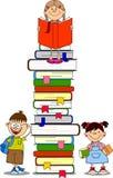illustrazione del vettore dei libri e degli allievi Immagine Stock