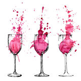 Illustrazione del vino - stile di arte e di schizzo Fotografie Stock