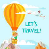 Illustrazione del volo del viaggiatore del ragazzino sull'aerostato nel cielo Fotografie Stock