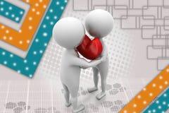illustrazione dell'abbraccio del cuore dell'uomo 3d Immagine Stock