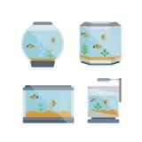 Illustrazione dell'acquario della casa di vettore del fumetto con acqua, pianta royalty illustrazione gratis
