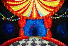 Illustrazione dell'acquerello dell'arena del circo Fotografia Stock