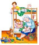 Illustrazione dell'acquerello Bambini in camera da letto Fotografia Stock Libera da Diritti