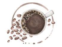 Illustrazione dell'acquerello con caffè e grani illustrazione di stock
