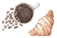 Illustrazione dell'acquerello con caffè ed il croissant illustrazione vettoriale