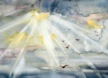 Illustrazione dell'acquerello con il cielo e gli uccelli Fotografia Stock