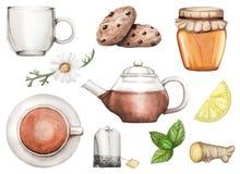 Illustrazione dell'acquerello con l'insieme di tè disegnato a mano royalty illustrazione gratis