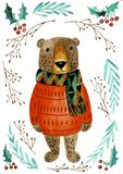 Illustrazione dell'acquerello con l'orsacchiotto Animale disegnato a mano sveglio, isolato su bianco illustrazione vettoriale