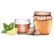 Illustrazione dell'acquerello con tè, miele ed i biscotti illustrazione di stock