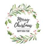 Illustrazione dell'acquerello Corona dell'alloro di Natale Perfezioni per dentro illustrazione di stock