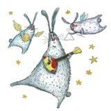 Illustrazione dell'acquerello, dancing e conigli di canto Fotografia Stock