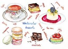 Illustrazione dell'acquerello dei dessert Immagine Stock Libera da Diritti