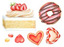 Illustrazione dell'acquerello dei dolci, delle caramelle e dei bisquits differenti illustrazione vettoriale