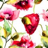 Illustrazione dell'acquerello dei fiori del papavero Fotografia Stock