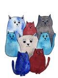 Illustrazione dell'acquerello dei gatti svegli luminosi Personaggi dei cartoni animati illustrazione vettoriale