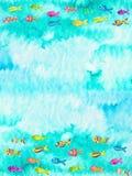 Illustrazione dell'acquerello dei pesci Fotografie Stock Libere da Diritti