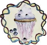 Illustrazione dell'acquerello del bigné con i mirtilli Fotografia Stock Libera da Diritti