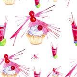 Illustrazione dell'acquerello del dolce decorata con la spruzzata rossa del succo della ciliegia, della calce e della ciliegia in illustrazione di stock