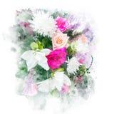 Illustrazione dell'acquerello del fiore Fotografia Stock