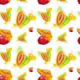 Illustrazione dell'acquerello del mango e della papaia nella spruzzata del succo isolata su un fondo bianco Reticolo senza giunte royalty illustrazione gratis