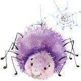 Illustrazione dell'acquerello del ragno dell'insetto del fumetto Su fondo bianco Fotografie Stock Libere da Diritti