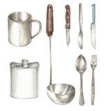 Illustrazione dell'acquerello dell'oggetto della cucina Immagine Stock