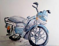 Illustrazione dell'acquerello della bici del motore fotografie stock