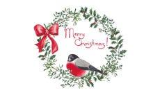 Illustrazione dell'acquerello della corona di Natale illustrazione vettoriale