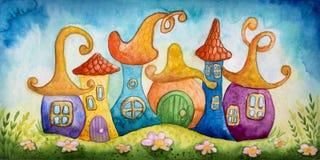 Illustrazione dell'acquerello delle case Fotografia Stock Libera da Diritti