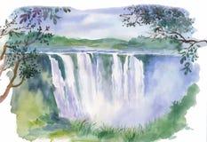 Illustrazione dell'acquerello di bella cascata Fotografia Stock Libera da Diritti