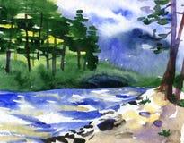 Illustrazione dell'acquerello di bello fiume Fotografia Stock