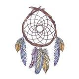 Illustrazione dell'acquerello di dreamcatcher dai rami dell'albero, Immagini Stock