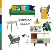 Illustrazione dell'acquerello di interior design di vettore Mobilia del salone illustrazione di stock