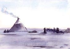 Illustrazione dell'acquerello di paesaggio e della gente siberiani Immagini Stock