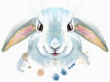 Illustrazione dell'acquerello di un coniglio bianco illustrazione di stock