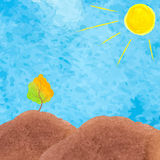 Illustrazione dell'acquerello di un paesaggio con l'albero Montagna con Immagini Stock