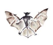 Illustrazione dell'acquerello di un pipistrello Immagini Stock