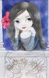 Illustrazione dell'acquerello di una ragazza Immagini Stock Libere da Diritti