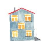Illustrazione dell'acquerello di vecchia casa grigia Fotografia Stock
