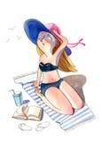 Illustrazione dell'acquerello Donna scolorita al sole pensierosa in un costume da bagno Fotografia Stock