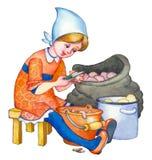 Illustrazione dell'acquerello La ragazza pulisce le patate Immagini Stock