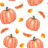 Illustrazione dell'acquerello modello senza cuciture di autunno con la zucca e le foglie giallo arancione fotografia stock