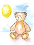 Illustrazione dell'acquerello - orsacchiotto triste con il pallone giallo Fotografia Stock Libera da Diritti