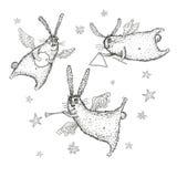 Illustrazione dell'acquerello, volo e conigli di canto Fotografie Stock