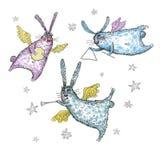 Illustrazione dell'acquerello, volo e conigli di canto Immagini Stock