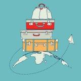 Illustrazione dell'aereo della carta di volo intorno al viaggio Fotografia Stock Libera da Diritti