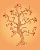 Illustrazione dell'albero con i cuori Illustrazione Vettoriale