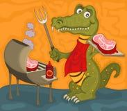 Illustrazione dell'alligatore del barbecue Fotografie Stock